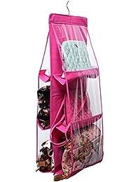 Arura 6 Pocket Large Clear Purse Handbag Hanging Storage Bag Organizer Closet Tidy Closet Organizer Wardrobe Rack...