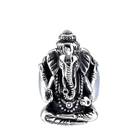 HIJONES Homme Acier Inoxydable Thaïlande Elephant Finger Taille Bouddha Bague 11
