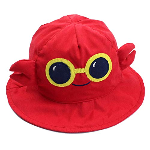 Happy Cherry - Sombrero Verano de Algodón para Niños Niñas Bucter Hat Gorra de Sol para Playa Viaje con ala - Cangrejo - 50CM/2-3Años