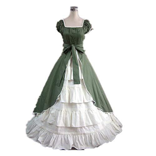 QAQBDBCKL Armee Grün Mittelalterlichen Ballkleid Cosplay Maid Kleid Königin Cosplay Viktorianischen Belle Ball