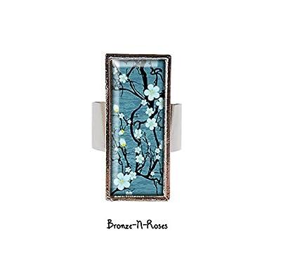 Bague rectangle Sakura fleurs bleues bijou fantaisie cabochon métal argenté bleu