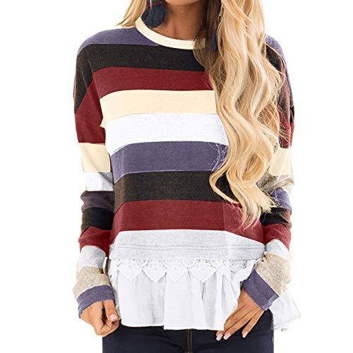 MA87 Damen Plus Size Langarm gestreiften Oansatz Spitze Patchwork Pullover Tops ()