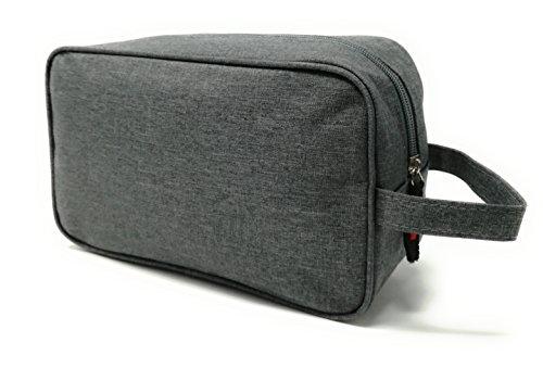 Neceser Bolsa de Aseo Hombre Diseño Premium Exclusivo Liso Tela Impermeable para Hombre Varios Colores Impermeable (Gris Platino)