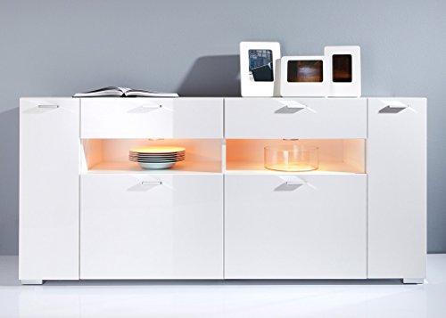 Sideboard Imko 173x83x40cm weiß Hochglanz LED-Beleuchtung Anrichte Kommode Schubkastenschrank Schubkastenkommode Wohnzimmerschrank