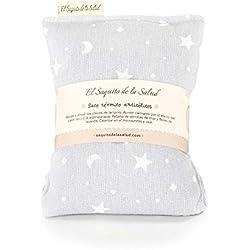Saco Térmico de Semillas Anti Cólico del Lactante aroma a Lavanda Gris con Estrellitas