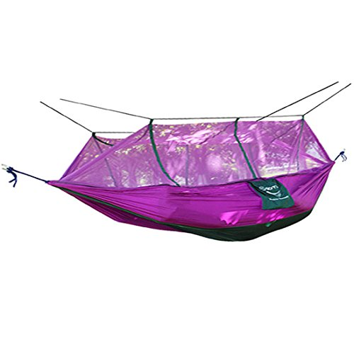UKGOOD Double Portable Ultra Strong 210T Parachute Nylon Fabric Hammock Mosquito Net~~Lightweight,Compact and Reversible Design with Inset free Net~~Great choice for travelling,Camping,Hiking,Beach or Yard etc. (Purple)
