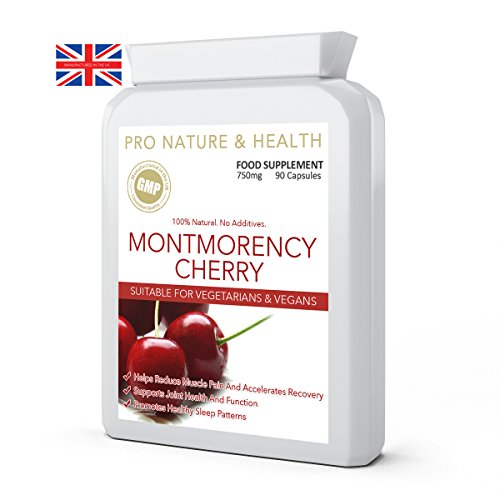 Montmorency Cherry | 750mg x 90 Capsules | 100% Natural | Helps Reduce Muscle Pain | Supports Joint Health And Function | Promotes Healthy Sleep Patterns | High Strength Freeze Dried Montmorency Cherries With NO Additives | Manufactured In The UK To GMP Code Of Practice And ISO 9001 Quality Assurance Certification Test
