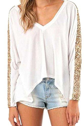 Frauen Elegant Tiefe V - Sequince Patchwork - T - Shirts White