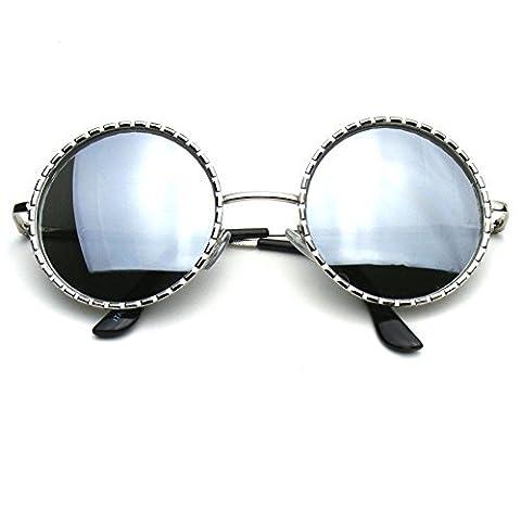 Emblem Eyewear -Designer De Mode Inspiré Rond Cercle Métallique De Vintage Lunettes De Soleil (Argente)