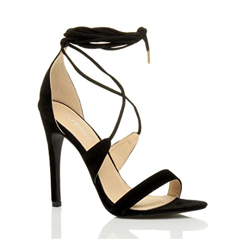 Donna tacco alto appena malapena là cinghietti allacciare sandali scarpe taglia Nero scamosciata