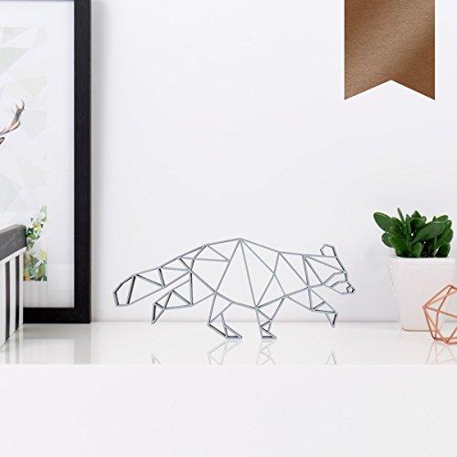 (KLEINLAUT 3D-Origamis aus Holz - Wähle Ein Motiv & Farbe - Waschbär - 10 x 4,2 cm (S) - Kupfer)