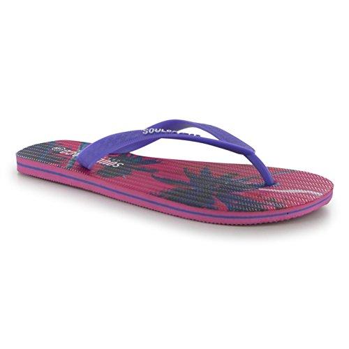 SoulCal Damen Zehentrenner-Toe Post Beach Summer Purple Print