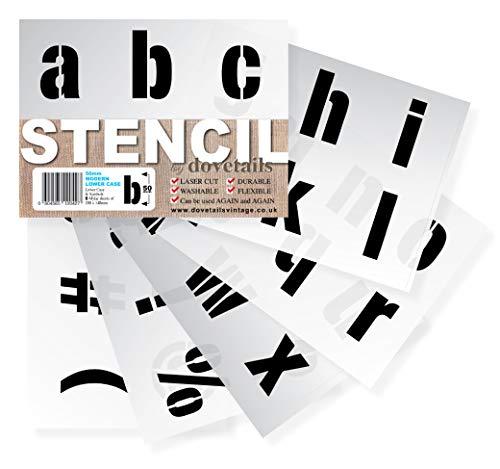 Große Alphabet Schablonen Buchstaben / Symbole 5 cm hoch MODERN kleinbuchstaben 6 x Blätter 20 x 14.8 cm -
