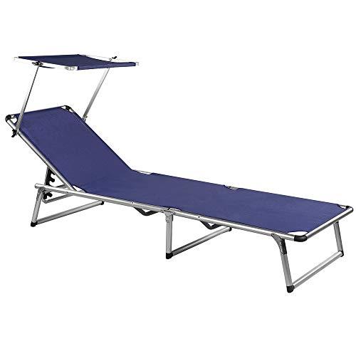 Sonnenliege Sylt | mit Dach | Aluminium | 200cm Länge | 120kg Tragkraft | Textilene-Bezug |...