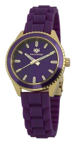 Wellington WN508-290A - Reloj analógico de cuarzo para mujer con correa de silicona, color morado