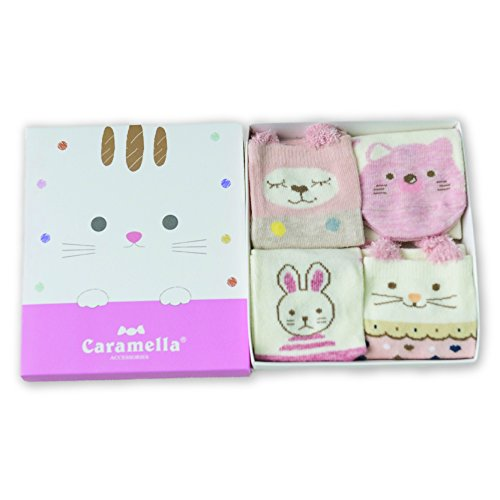 BEBE Socks Baby Boy's and Baby Girl's Cotton Socks (56554XS, Rosy Kitty, 6-12 Months) - 4 Pair Combo