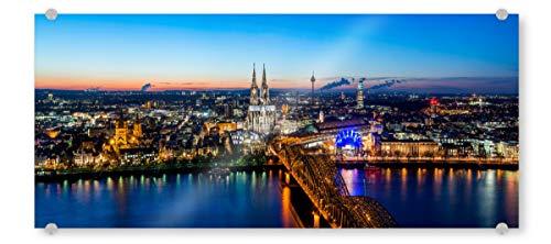 artboxONE Acrylglasbild 150x50 cm Städte Köln Panorama at Night Bild hinter Acrylglas - Bild Köln Panorama Rhein