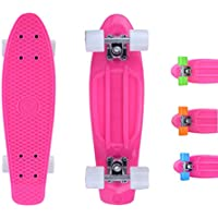 City ridertm Retro Skateboard Skateboard Mini Cruiser Skateboard–22pollici/57cm–Originale Rosa per ragazzi e ragazze, - pink /