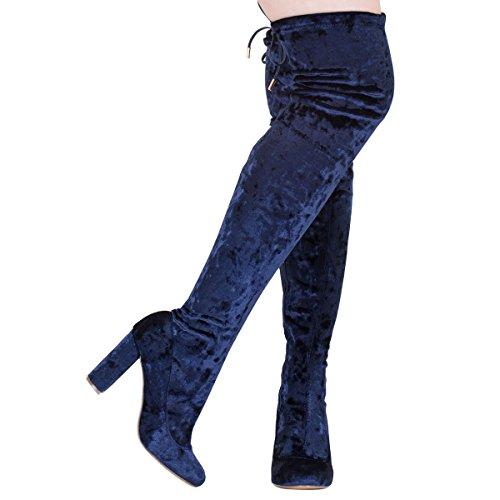 Onlymaker damenmode knoten spitze den block so ferse samt kniehohe stiefel Blau