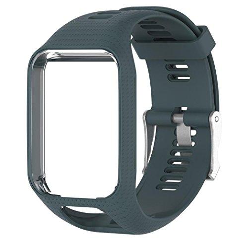 JANLY Bracelet de silicone de rechange pour TomTom Spark/3 Sport GPS Watch (Bleu Marine)