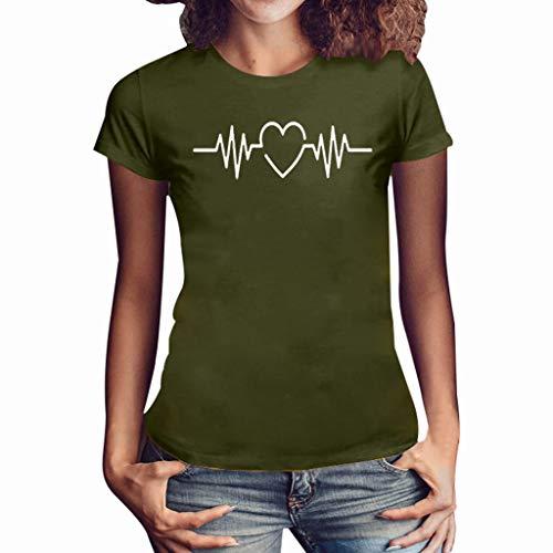 Haughtily Frauen Heart-Shaped Printed T-Shirt Plus Size O-Ausschnitt Kurzarm Sweatshirt Sommer Beiläufige Lose Bluse Tops -