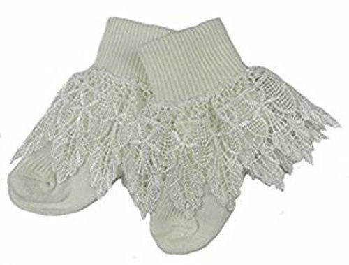 Baby Mädchen Socken Spitze Halskrause besonderer Anlass creme or White NB-3 3-6M or 6-12M - Creme, 6-12 Monate (Trim Elfenbein Lace)