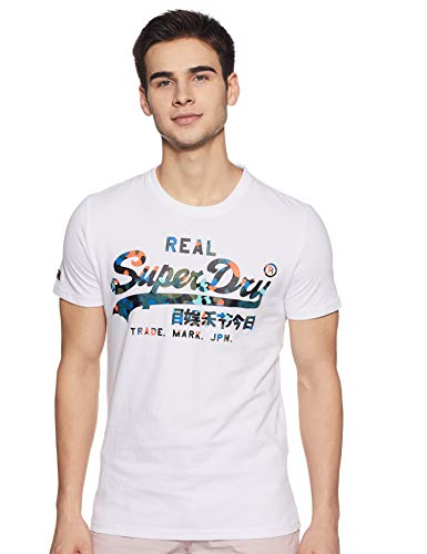 Superdry Vintage Logo Layered Camo Tee T- T-Shirt, Blanc (Optic 01c), Large Homme