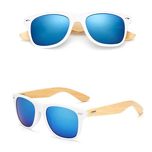 Eye-nak Holz Sonnenbrille UV400 - Unisex Damen und Herren Brille mit Bambus Bügeln - Holzbrille - unterschiedliche Farben (C15)