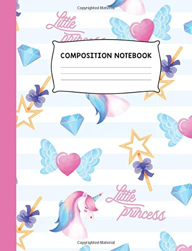 Little Princess: Unicorn Heart and Jewels Colorful Trendy Design Wide Ruled Composition Notebook Journal (Little Mermaid Hair Bow)