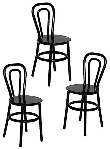 alles-meine.de GmbH 3 TLG. Set: Stühle / Bistrostuhl / Gartenstühle - schwarz - aus Metall - Miniatur / Maßstab 1:12 - für Puppenstube - Möbel Set Nostalgie - Restaurant Garten A..
