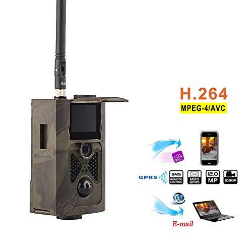 QinLL Jagd Kamera 3G GPRS MMS SMS 1080P Video Unterstützung 32G TF Karte Datum Zeit Impressum mit 120 ° Grad Infrarot Nachtsicht für Apple iPhone Android -