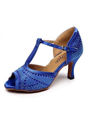 La mode moderne femmes Sandales Chaussures de danse Latine Salsa Satin Satin / sandales talon Professional / intérieur noir / bleu / violet US6 / EU36 / UK4 / CN36