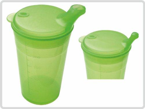 Schnabelbecher mit Deckel für Tee und Brei mit kurzem Mundstück, Farbe: Grün - Schnabeltasse Trinkbecher Einnehmebecher