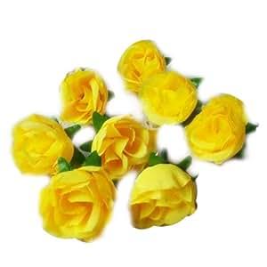 100 x Eyourlife con Rose Artificiali Fiori teste Arte con rose artificiali rosa matrimonio decorazione per feste giallo