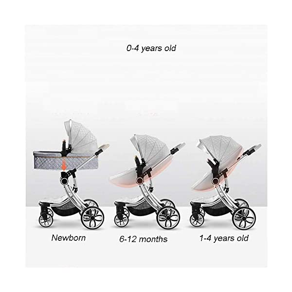 Two Way Fashion Strollers 2 in 1 Baby Pushchairs Newborn Prams Toddlers Bassinet Fold Reclining (Color : White) WSZLSD ◆Stylish dynamic egg-shaped baby stroller, PU leather eggshell seat, effectively protect baby's spine development, add hidden sleeping basket, adjustable handlebar and awning, large storage basket, Rotate the front wheel with a suspension spring, Fully adjustable 5-point harness. ◆Aluminum alloy frame has a good luster, It is lighter than iron (or steel, copper) and never rusts, so it can be used for a longer period of time ◆No need for inflatable rubber explosion-proof wheels, and can easily roll on all rough terrain, such as grass, gravel road, sidewalk, sand and so on,The front wheel has a shock absorber function to protect the baby's body, and the rear wheel has double brakes to ensure safe travel. 3