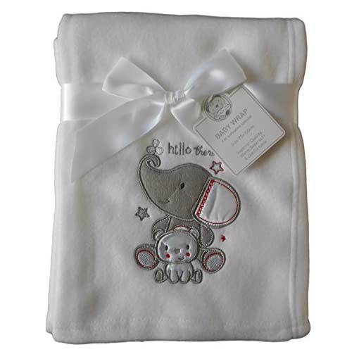 Baby-Boys-Girls-Cute-White-Elephant-and-Bear-Wrap-Blanket-100cm-x-75cm-approx