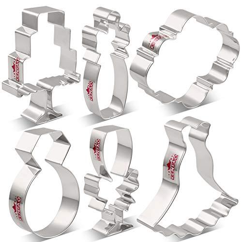 KENIAO Ausstechformen Hochzeit Ausstecher Set für Engagement - 6 Stück - Diamantring, Brautkleid,...