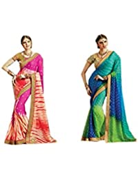 Mantra Fashions Women's Georgette Saree (Mant27_Multi)-Pack of 2