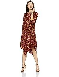 global desi Women's Floral Regular Fit Shirt (EC18G164TUSTN_Maroon_M)