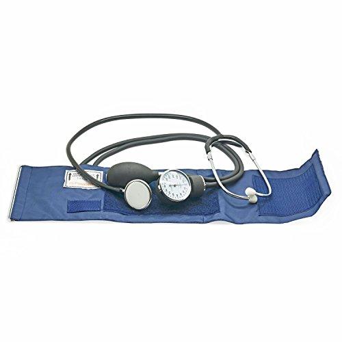 Belmalia Blutdruckmessgerät mit Stethoskop, Pumpball, Manometer, Manschette, Tasche für Rettungsdienst, Arzt, Praxis, Manuell, Blau Schwarz - 4