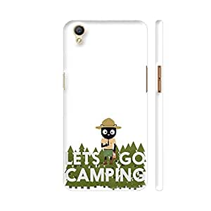 Colorpur Oppo A37 Cover - Let's Go Camping Park Ranger Cat Printed Back Case
