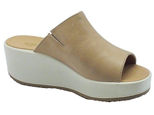 Sandali Igi&Co per donna in pelle beige zeppa alta Castoro