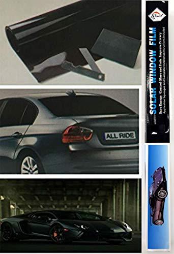 Kit di pellicola oscurante per finestrini, colore ultra nero, per ridurre il bagliore del sole da auto, furgoni e limousine, misura universale, 3 m x 50 cm