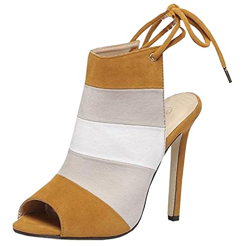 Oasap Women's Open Toe Ankle Lace Up Cut Out Heel Shoes Brown&white&light Grey