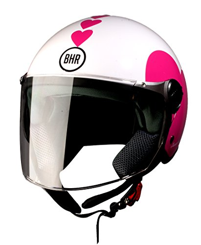 BHR 93771 Demi-Jet Love 710 Casco de Moto, Color Blanco, Talla 53/54 (XS)