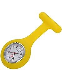 AHIMITSU Reloj de Bolsillo de Enfermera de Silicona Color Jalea Reloj de Bolsillo Reloj médico Enfermera Reloj Colgante (Amarillo)