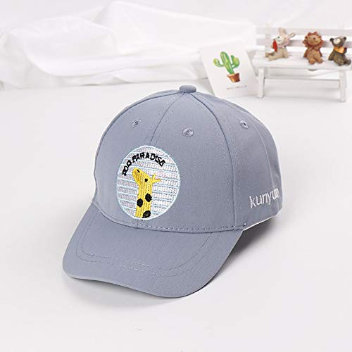 mlpnko Runde Giraffen-Baseballmütze Bestickte Babymütze Baby-Kinderhut New Beanie Grey 50-52cm Passend
