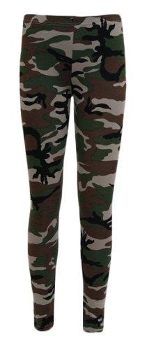 Neue Frauen-Damen Camouflage (Armee) Aztec Tartan Bang Leopard Skull & Rose USA Flag Wetlook Zebra Leggings S / M (36-38) und M / L (40-42) (S/M(36-38), Camouflage(Army)) (Army Flag Camouflage)