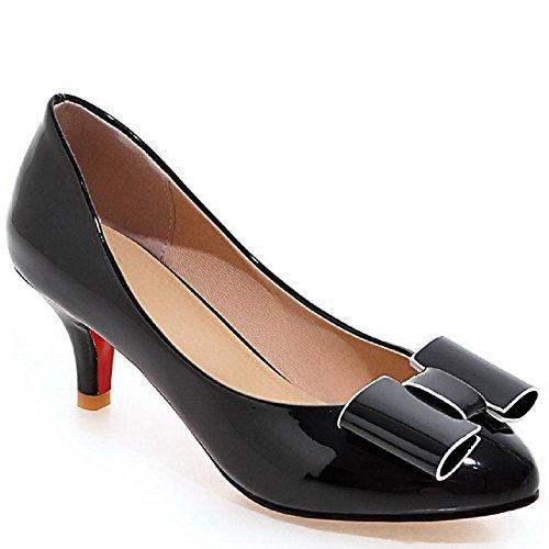 VogueZone009 Femme Verni Fermeture D'Orteil Rond à Talon Correct Tire Couleur Unie Chaussures Légeres Noir