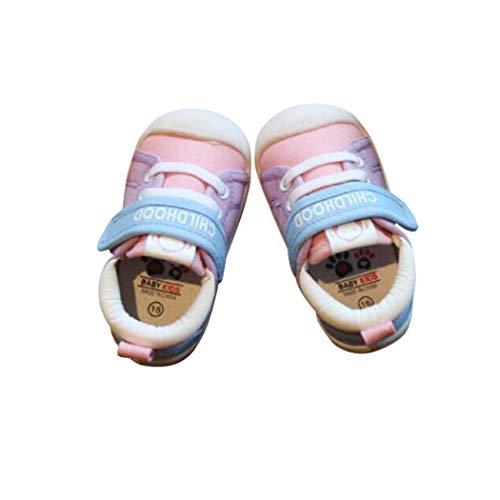 EBAIJIA Lauflernschuhe Babyschuhe 1-4 Jahre Kinder Schuhe Kleinkind Jungen Mädchen Weiche Sohle Rutschfeste Segeltuch Atmungsaktiv Leichte Klett Turnschuhe Draussen - 21 EU ()